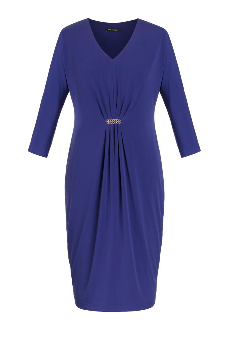 b642d02d51 Niebieska sukienka z marszczeniem - Vito Vergelis