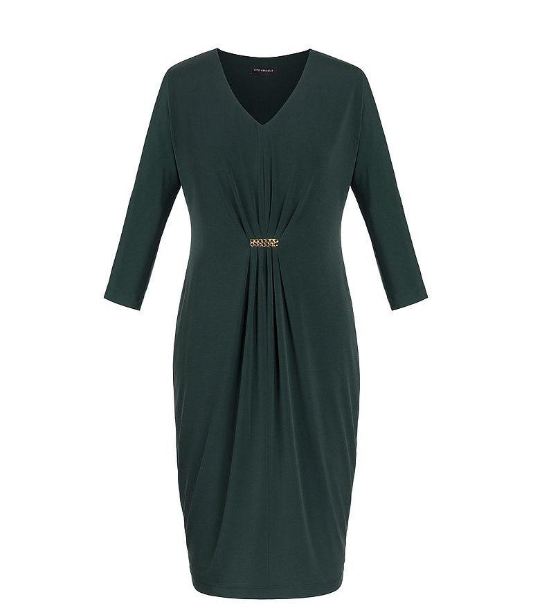 Zielona sukienka z marszczeniem