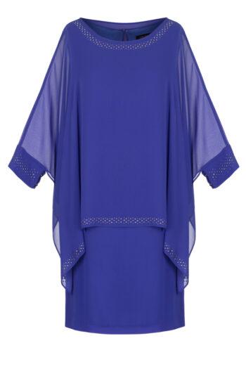 Kobaltowa sukienka z szyfonu marki Vito Vergelis. Rękaw z ozdobną naklejką.