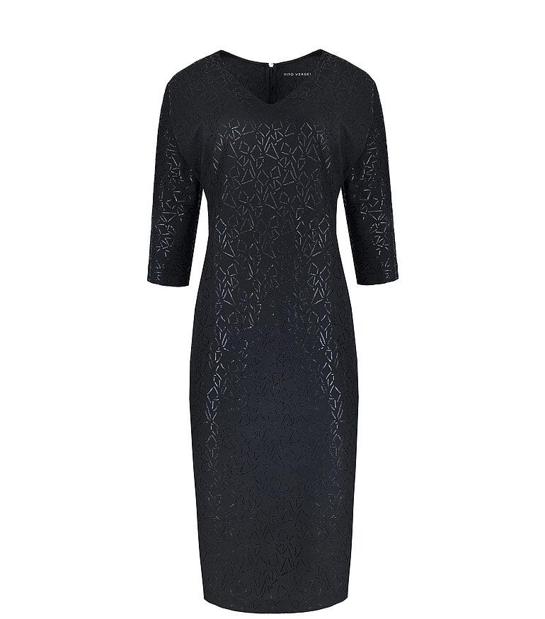 czarna sukienka z geometrycznym nadrukiem