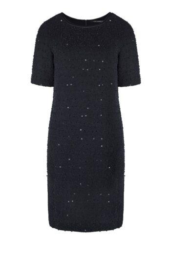 Linia wizytowa. Czarna elegancka sukienka Vito Vergelis boucle z cekinami