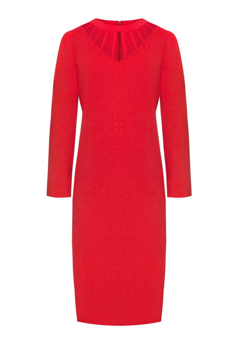 czerwona sukienka z oryginalnym dekoltem
