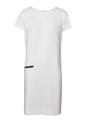 biała prosta sukienka z czarnym detalem i suwakiem