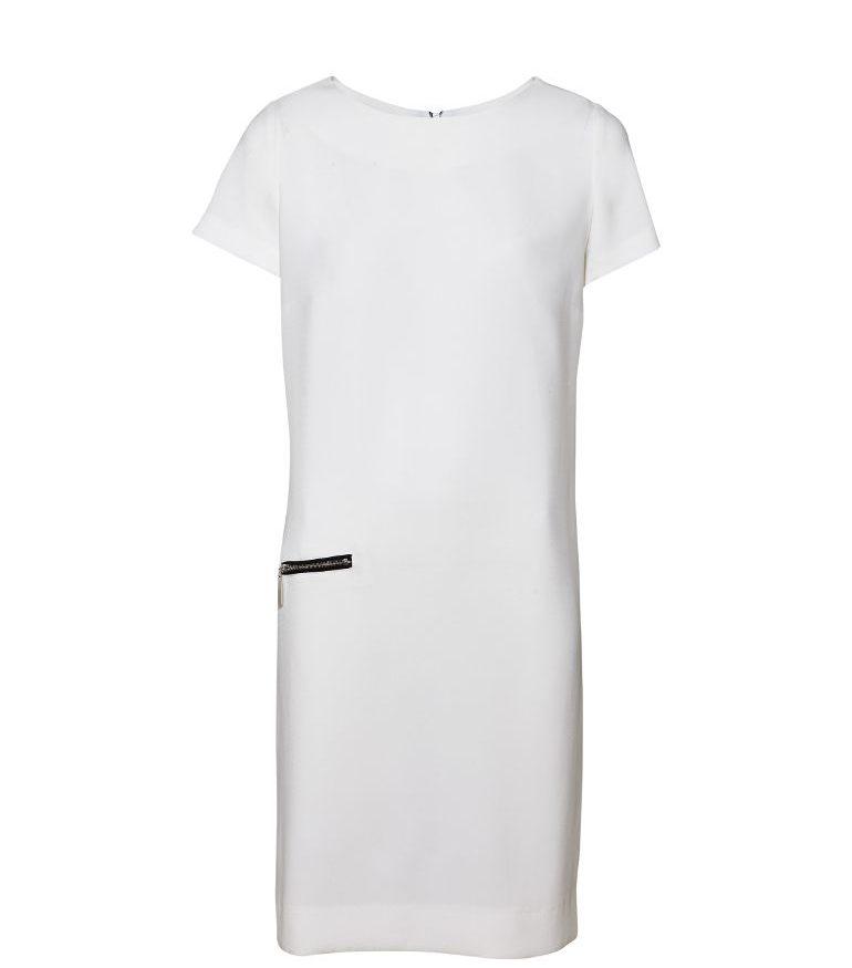 Kremowa sukienka z czarną wstawką