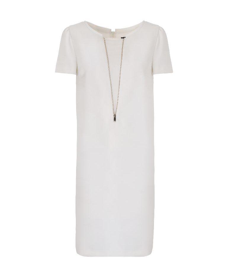 Biała sukienka z ozdobną wstawką