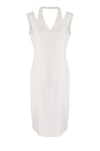 Linia wizytowa. Biała sukienka ołówkowa z wycięciami i odkrytymi ramionami. Wizytowa sukienka Vito Vergelis.