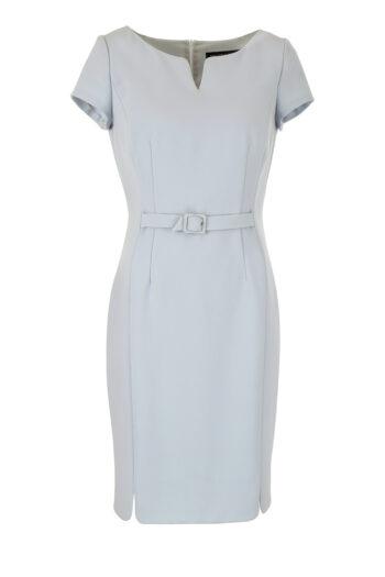 Błękitna sukienka do pracy z krótkim rękawkiem i paskiem. Linia biznes Vito Vergelis.