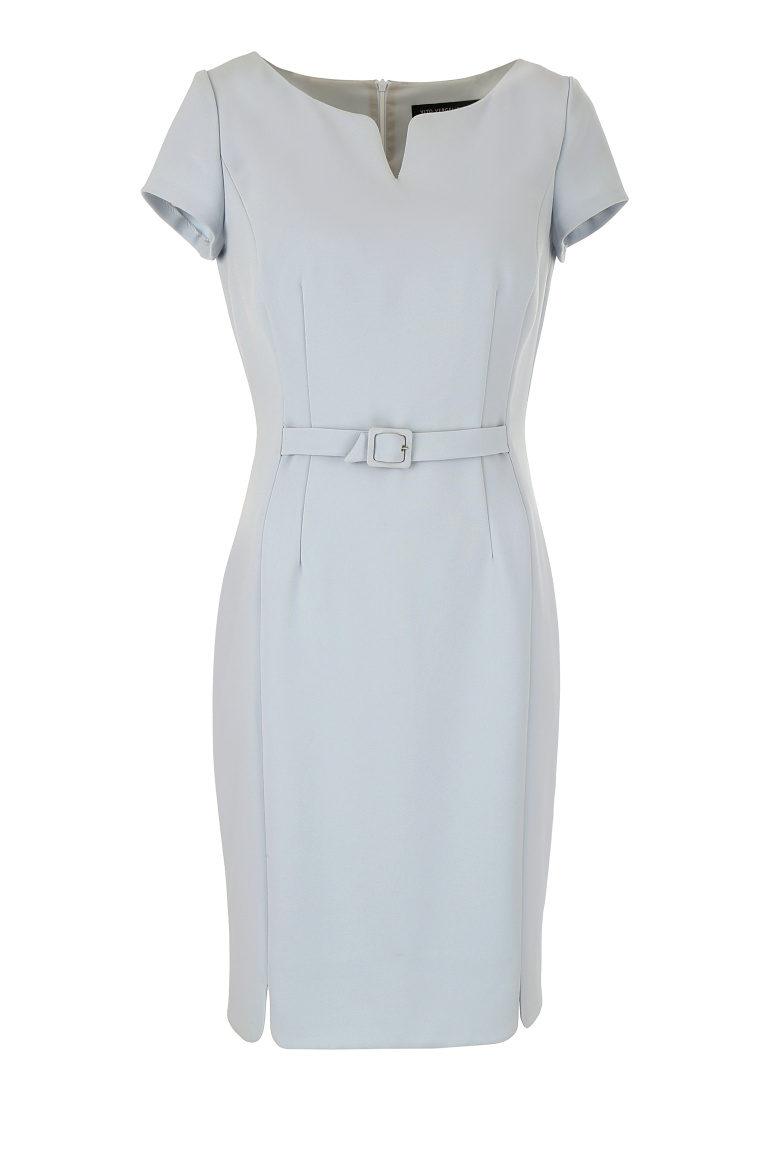 Błękitna sukienka z klamrą