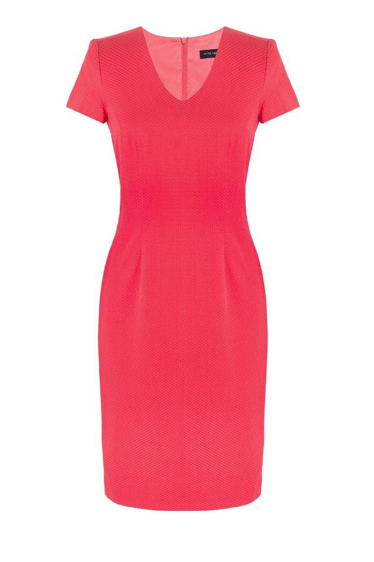Czerwona klasyczna sukienka z rękawkiem