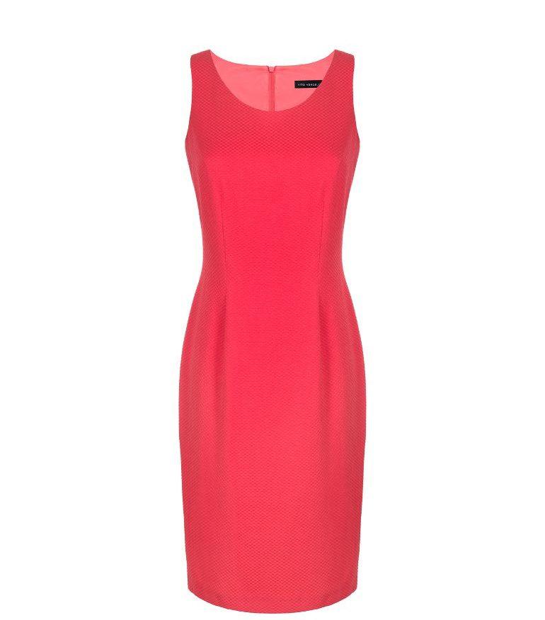 Czerwona klasyczna sukienka bez rękawka