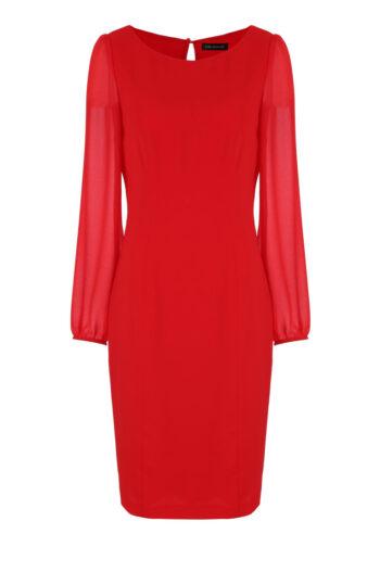 Linia wizytowa. Czerwona sukienka Vito Vergelis z szyfonowymi rękawami