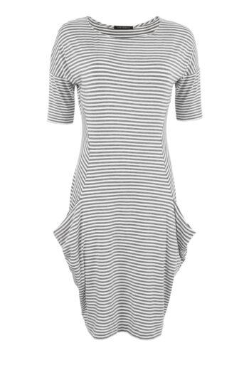 Vito Vergelis sukienka dzianinowa szary prążek z kieszeniami 6098