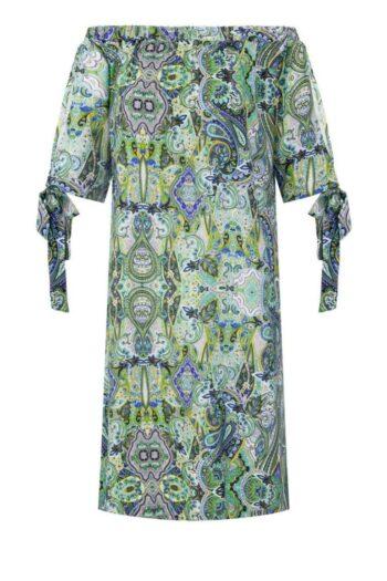 Sukienka dekolt carmen, hiszpański z zielonej wiskozy marki Vito Vergelis