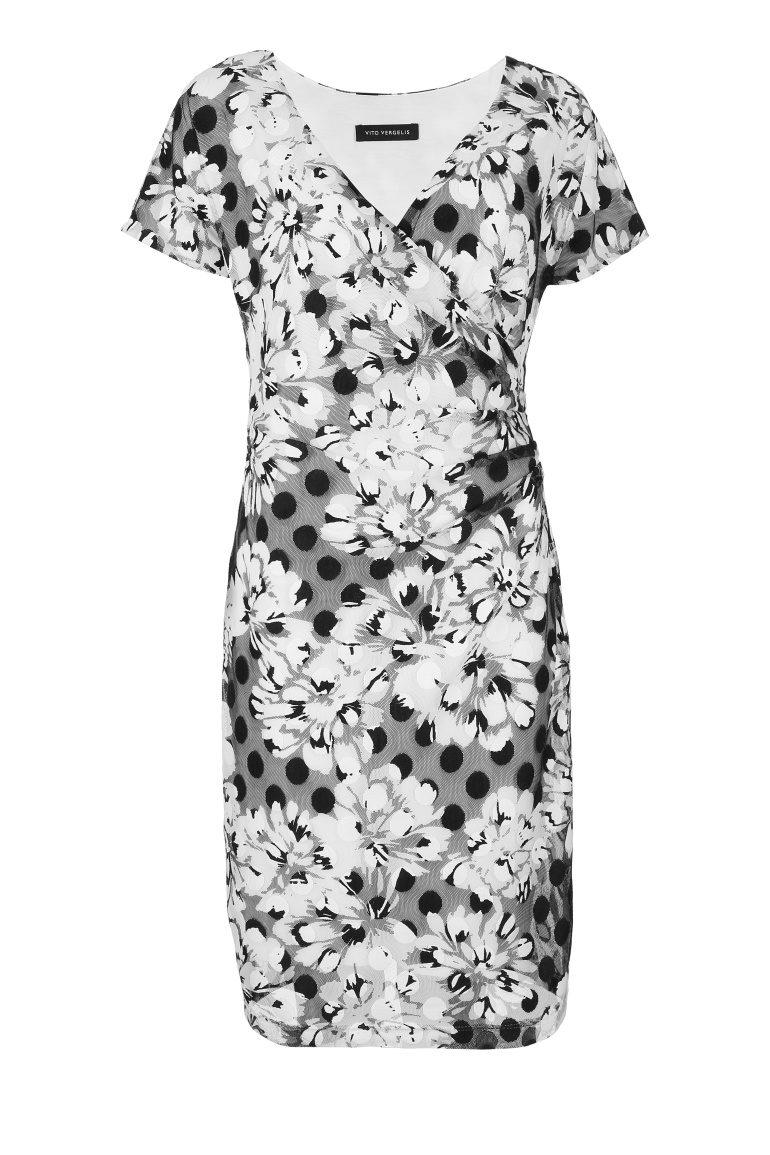 Kopertowa sukienka w kwiaty i groszki