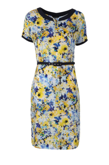 Sukienka w żółte kwiatki z paskiem marki Vito Vergelis