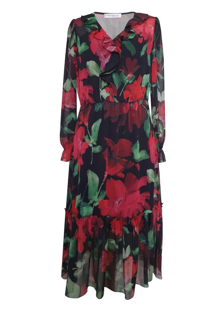 Sukienka midi z szyfonu w czerwone kwiaty