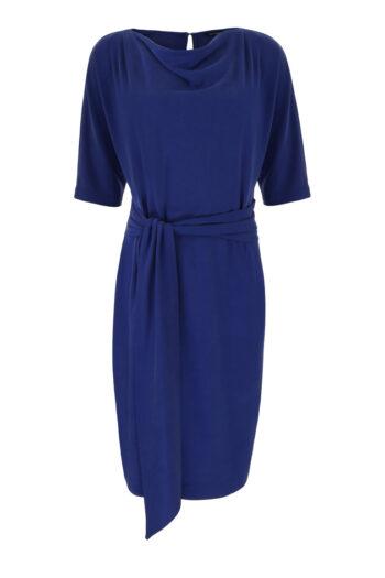 Komfotowa niebieska sukienka z szarfą i rozcięciem na rękawie z modalu. Sukienka Vito Vergelis