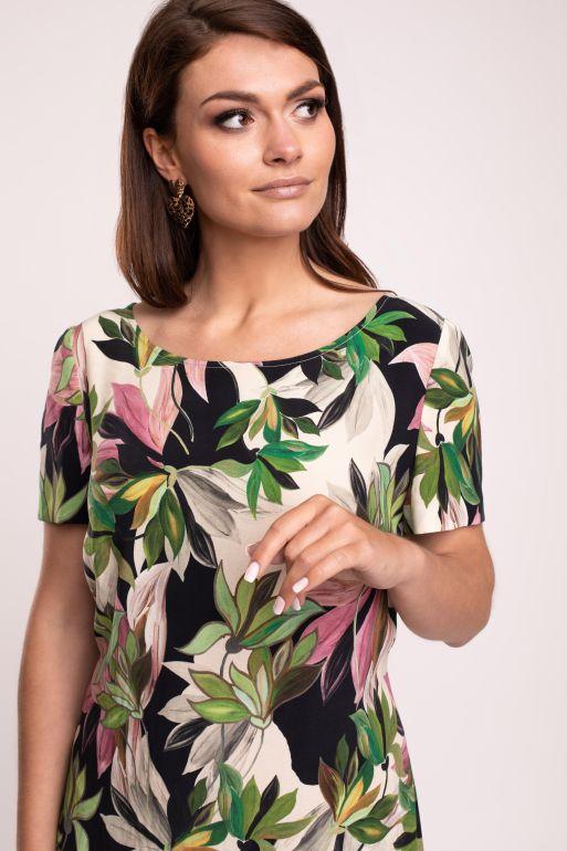 Prosta sukienka z wiskozy cupro w nadruk liści i kwiatów marki Vito Vergelis