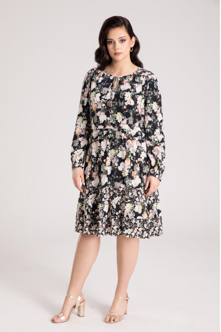 Sukienka w kwiaty z cupro z wiskozą
