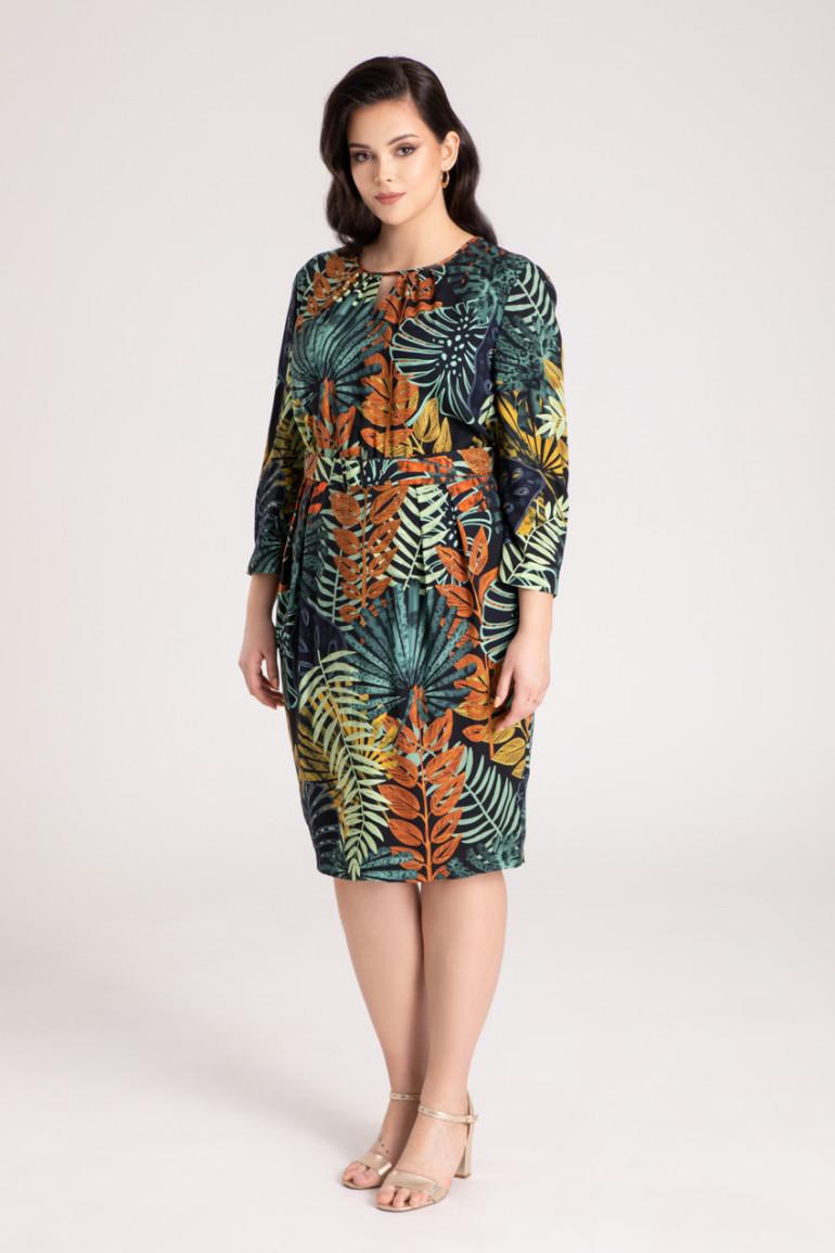 Sukienka z wiskozy w liście