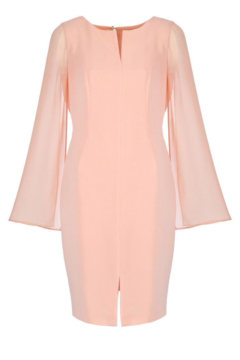Różowa sukienka z szyfonowym rękawem