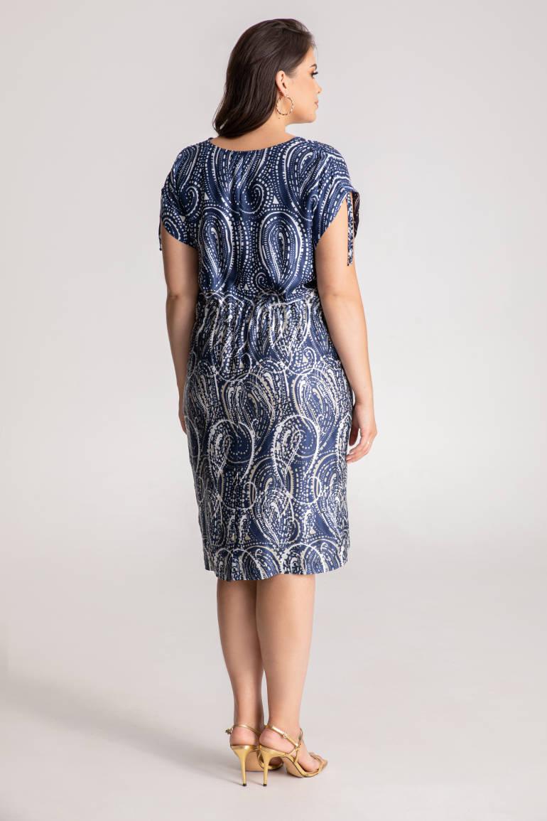 Ściągana sukienka na lato z wiskozy i jedwabiu marki Vito Vergelis