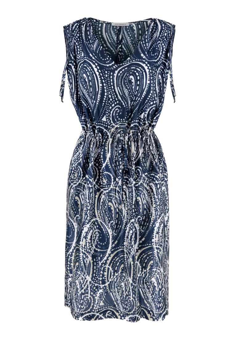 Ściągana sukienka z wiskozy z jedwabiem
