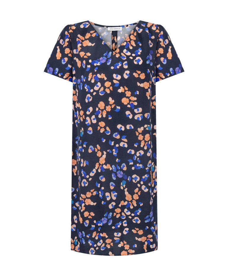 Sukienka w cętki z wiskozy z cupro