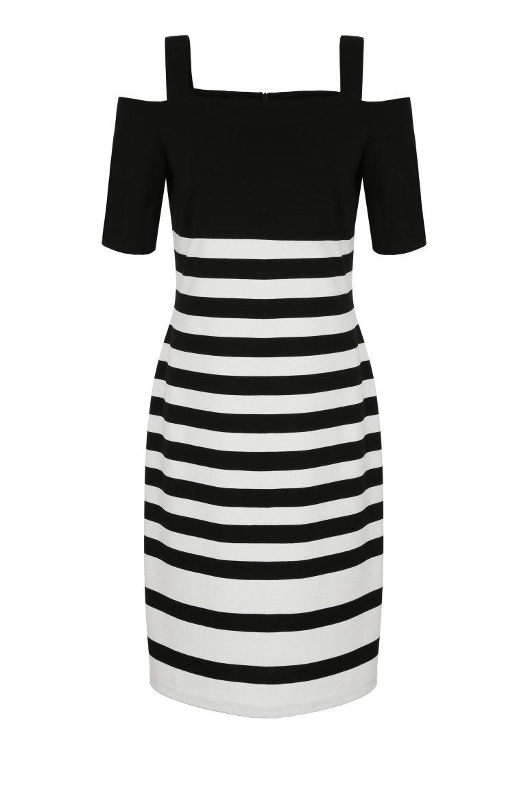 Sukienka w paski z odkrytymi ramionami
