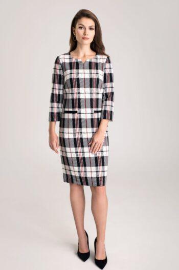 Elegancka sukienka w kratkę polskiej marki Vito Vergelis