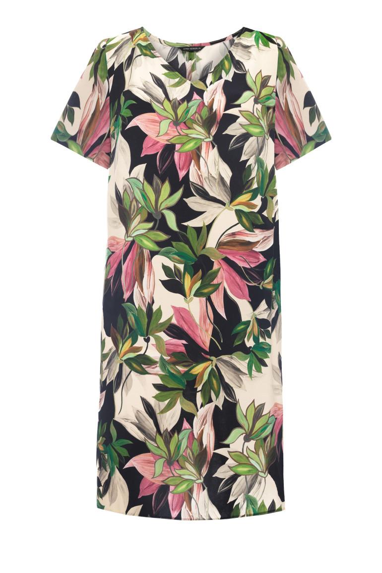 Sukienka w kwiaty z wiskozy z cupro