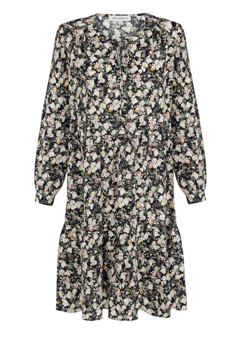 Sukienka w małe kwiatki z cupro z wiskozą