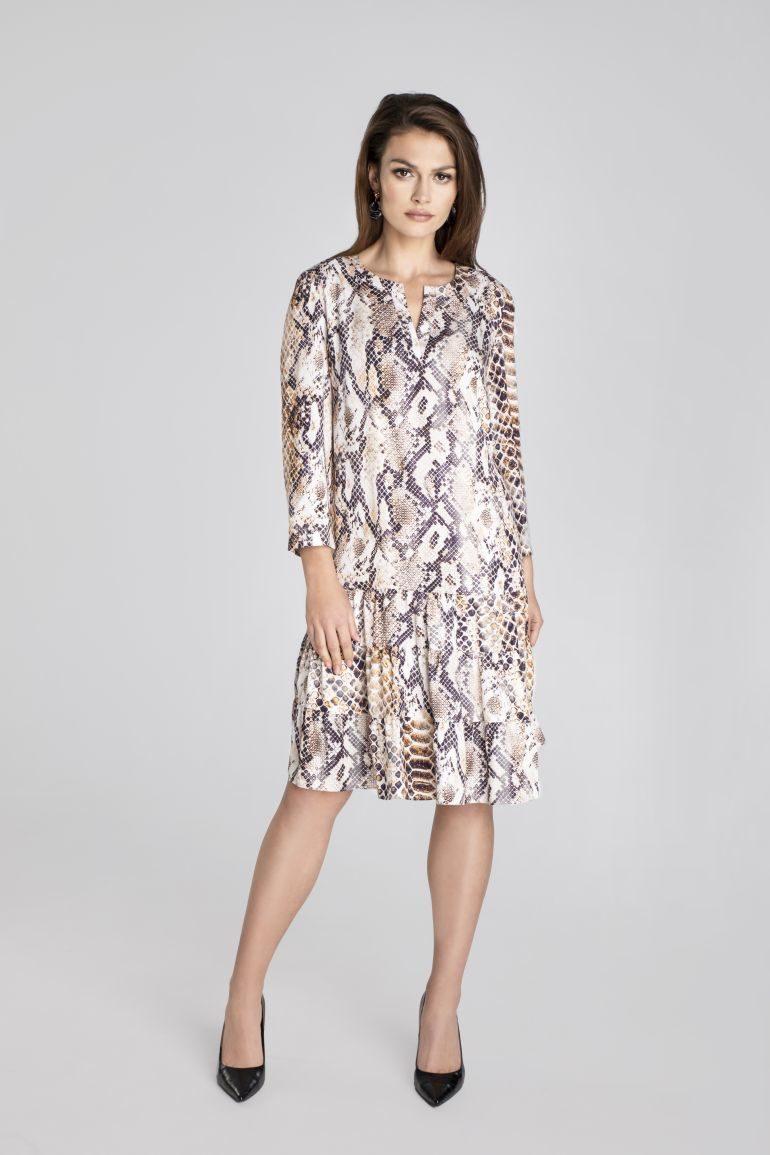 Sukienka we wzór węża z falbanami