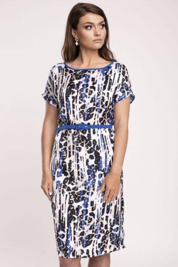 Klasyczna sukienka w cętki z paskiem Wzorszysta sukienka w panterkę marki Vito Vergelis
