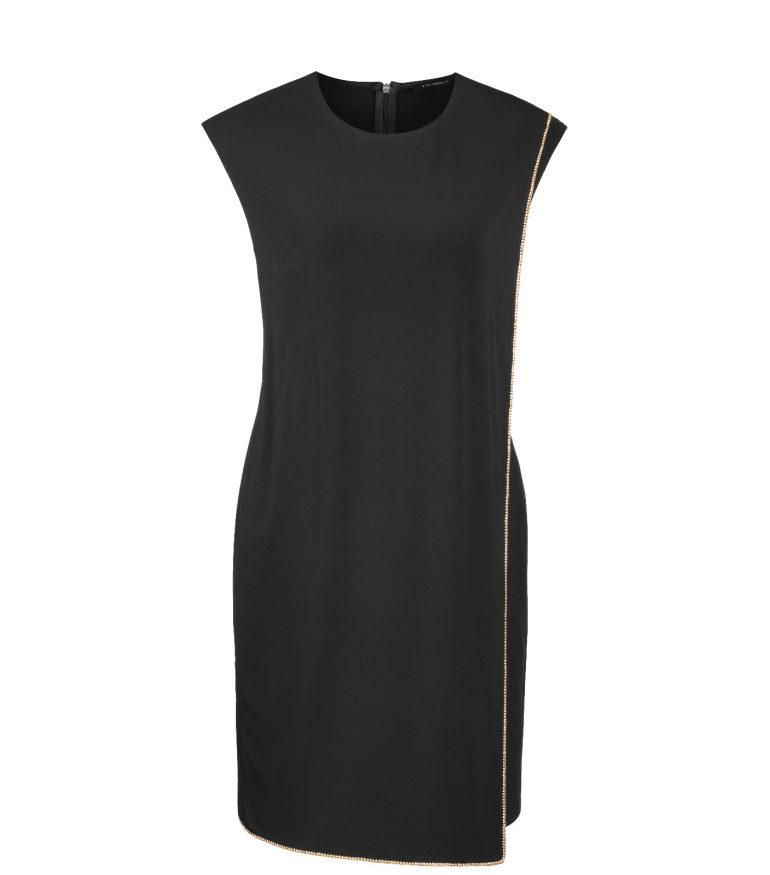 Czarna sukienka ze złotym detalem