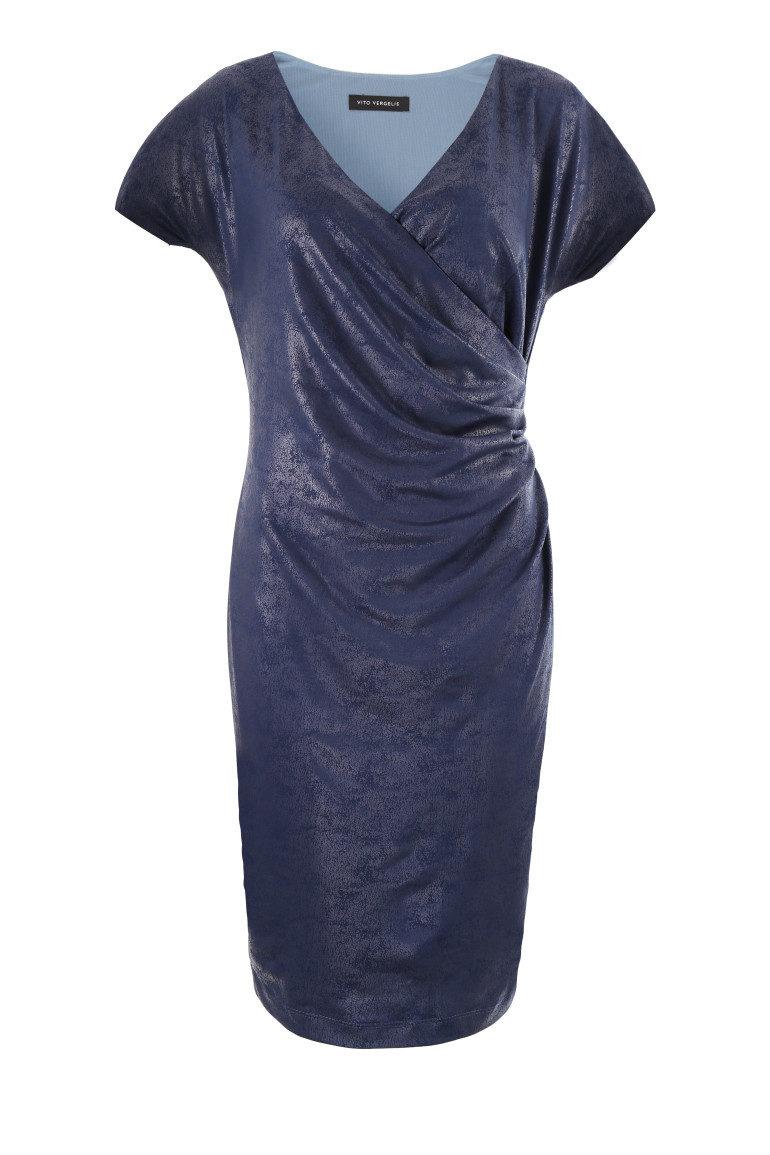 Granatowa sukienka kopertowa
