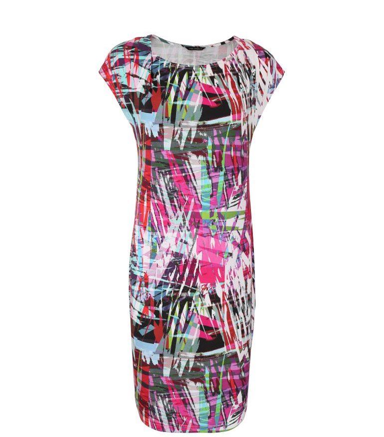 Kolorowa sukienka z dzianiny wiskozowej
