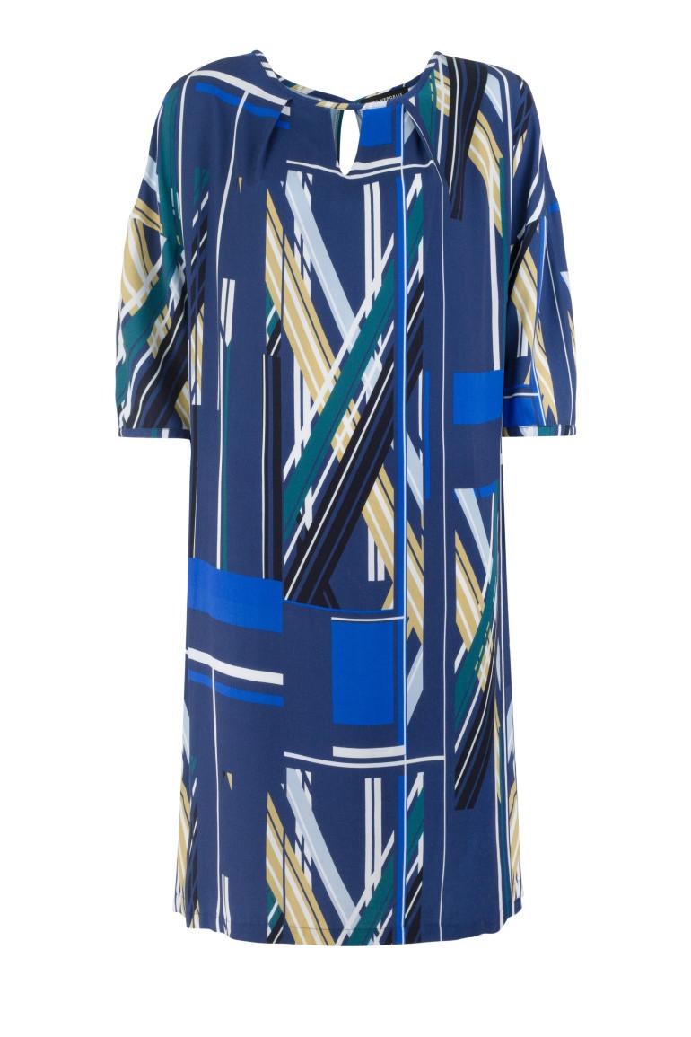 sukienka z wiskozy w graficzny nadruk