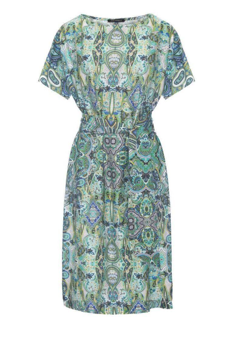 Zielona sukienka z szarfą