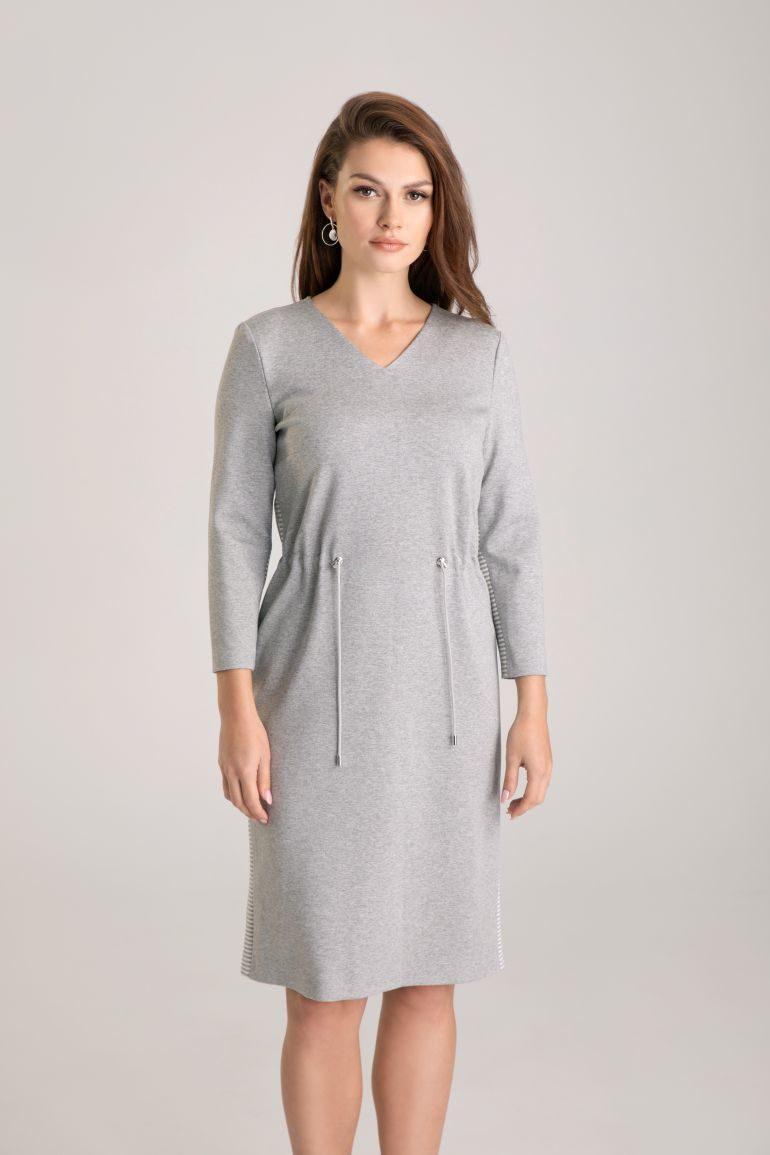 Szara dzianinowa sukienka z tunelem