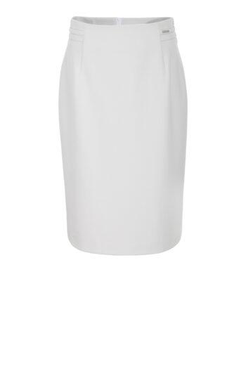 Linia biznes. Szara spódnica ołówkowa marki Vito Vergelis.