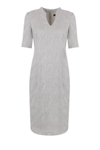 szara sukienka ołówkowa z krótkim rękawkiem i stójką marki Vito Vergelis