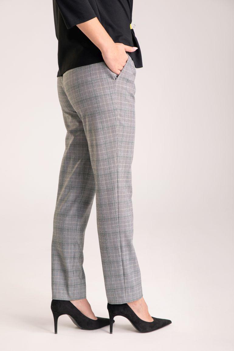 Szare spodnie damskie w kratkę polskiej marki Vito Vergelis