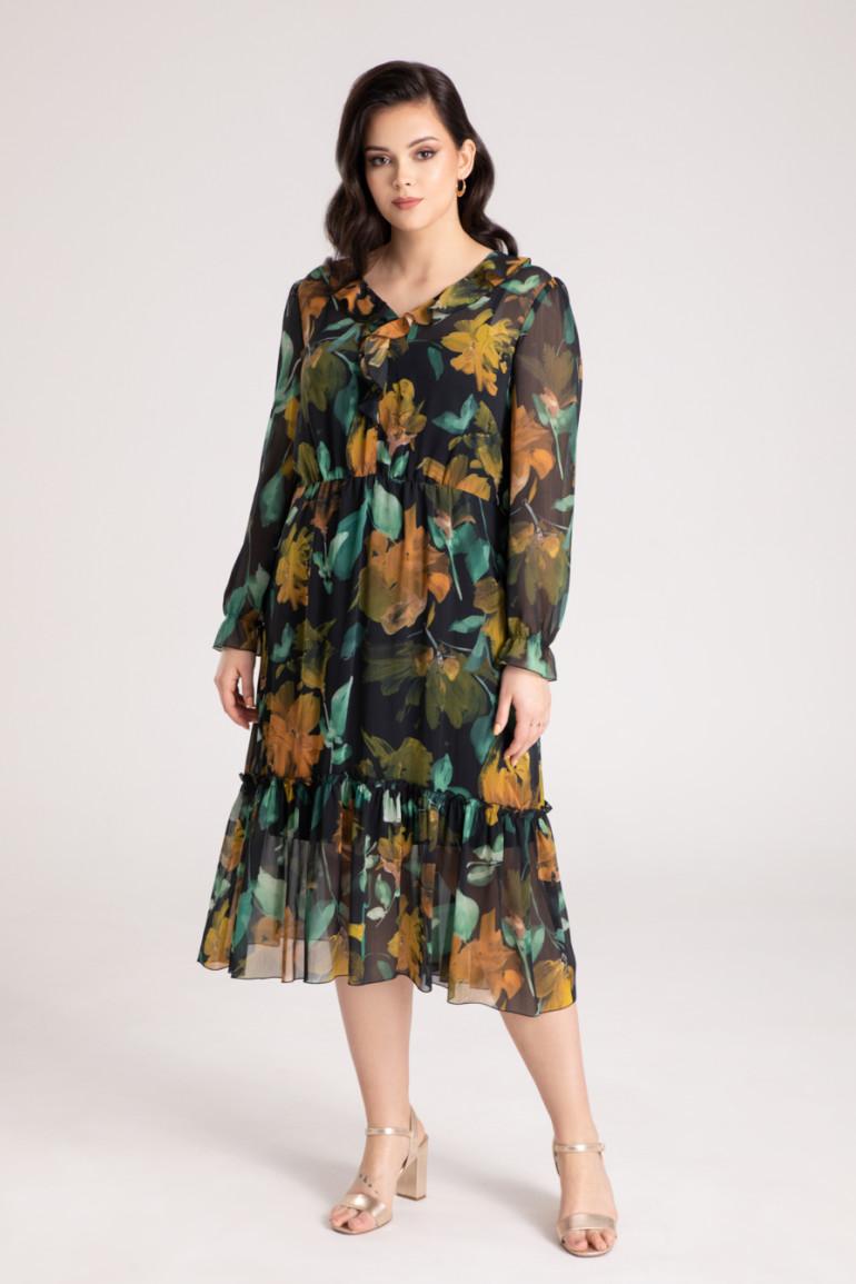 Sukienka midi z falbanami z szyfonu w kwiaty