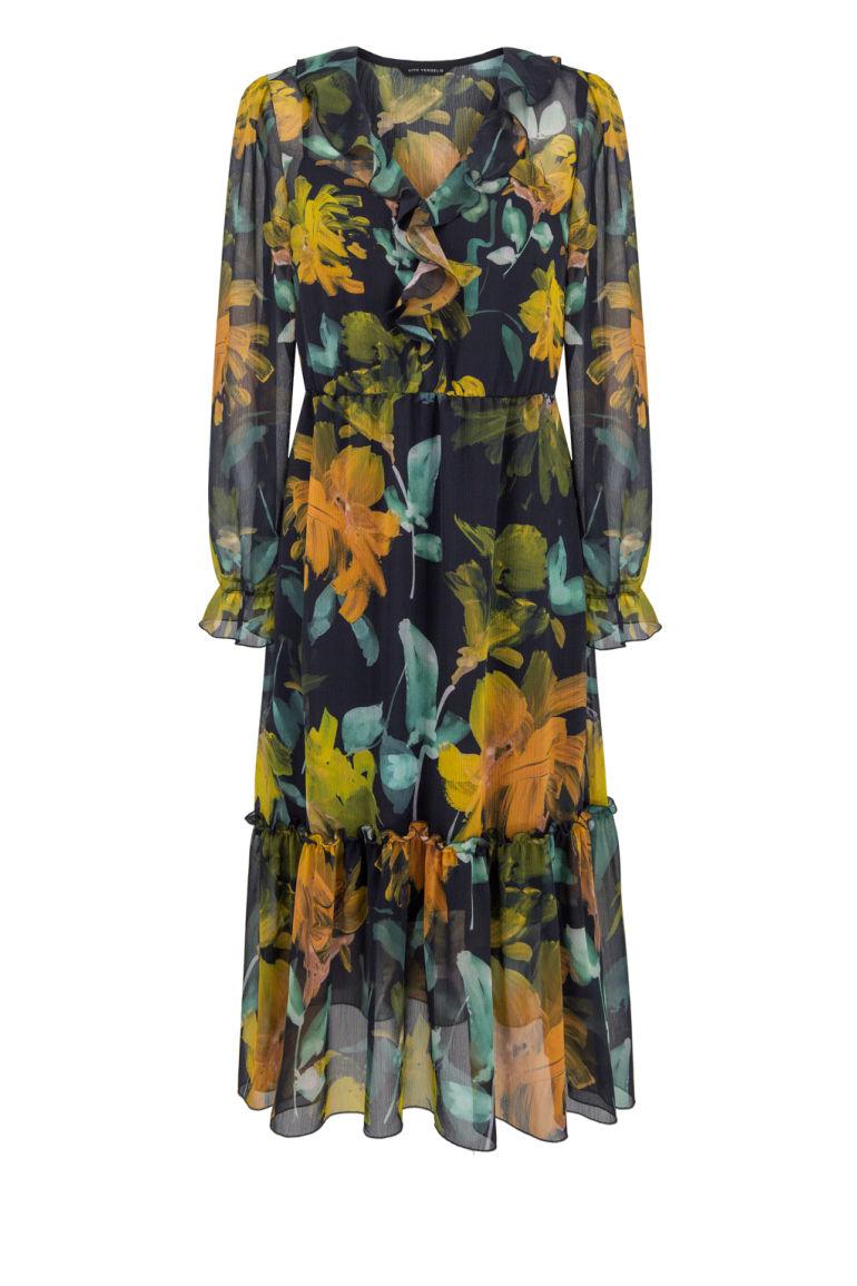 Sukienka midi z falbanami z szyfonu w kwiaty Vito Vergelis