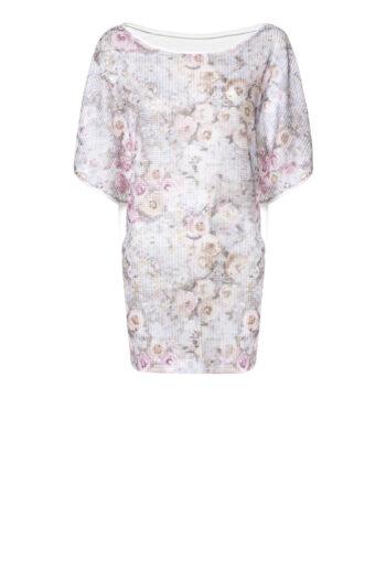 Wygodna tunika na lato z siateczki w pastelowe róże