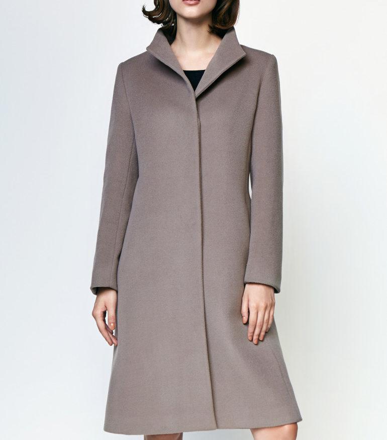 Szary płaszcz z alpaki z kaszmirem