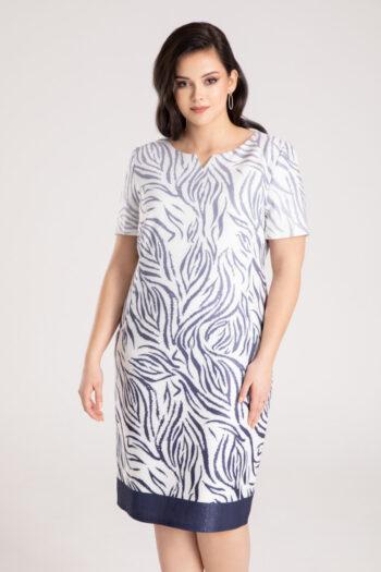Linia wizytowa Vito Vergelis. Elegancka sukienka plus size w granatowy wzór