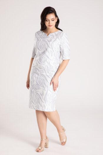 Kolekcja wizytowa. Elegancka, wizytowa sukienka plus size Vito Vergelis w szary wzór