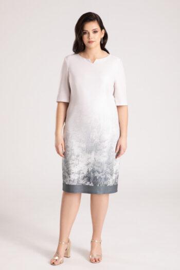 Elegancka wizytowa sukienka plus size w zwierzęcy wzór polskiej marki Vito Vergelis
